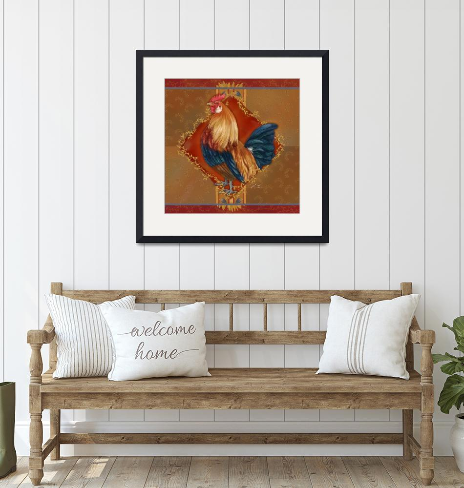 """""""Rooster with Wheat I""""  (2009) by shariwarren"""
