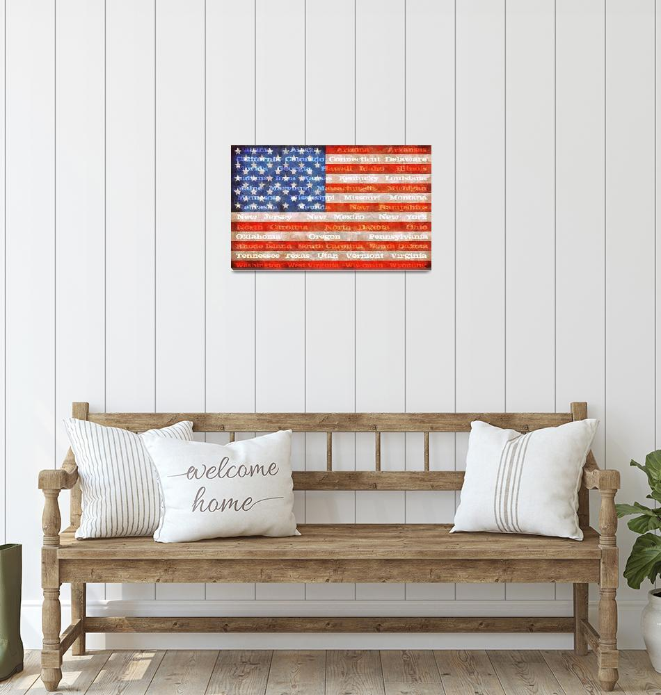 """American Flag with States""  (2012) by Michelle1991"