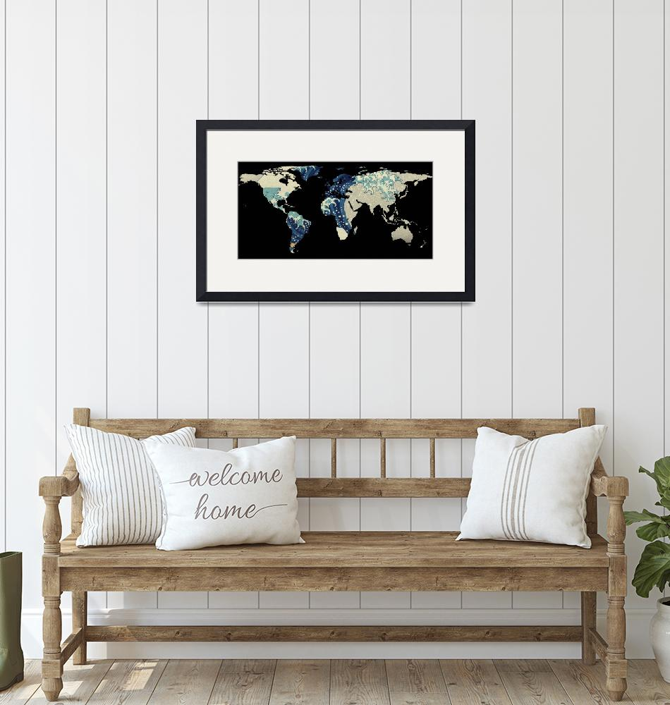 """World Map Silhouette - The Great Wave Off Kanagawa"" by Alleycatshirts"