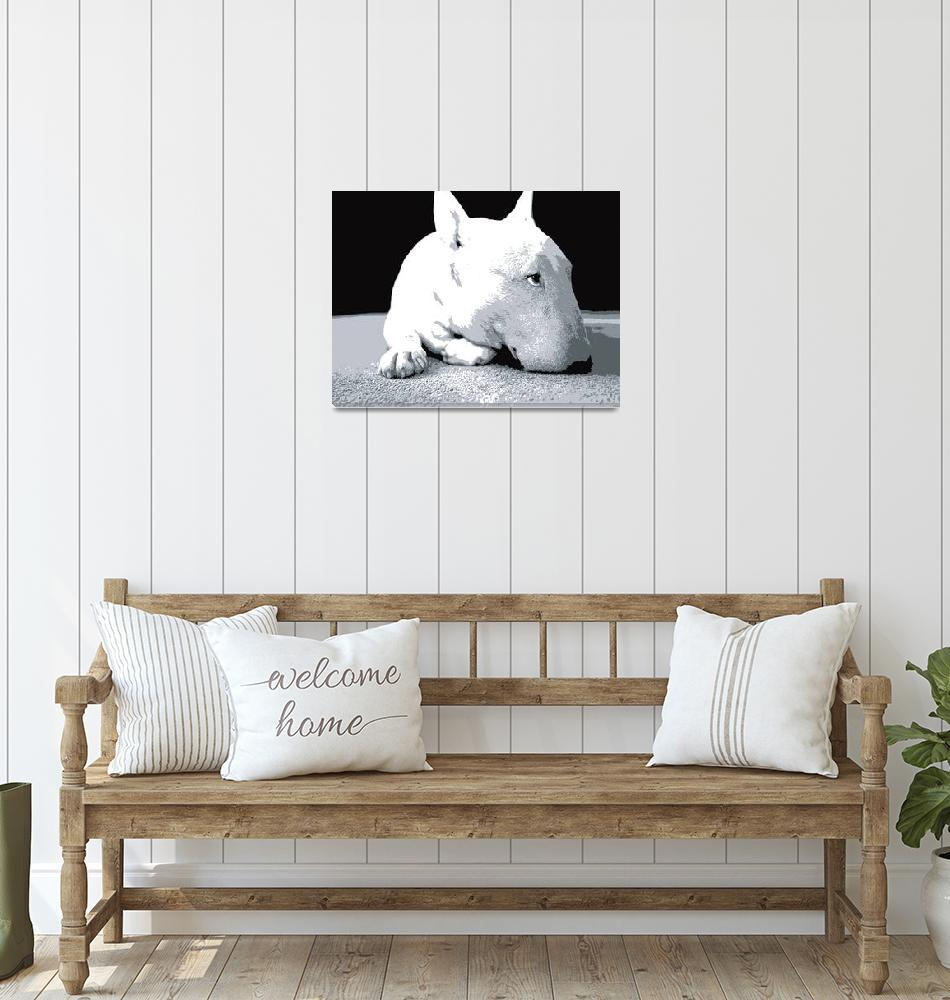 """English Bull Terrier, Pop Art Print""  (2008) by ModernArtPrints"