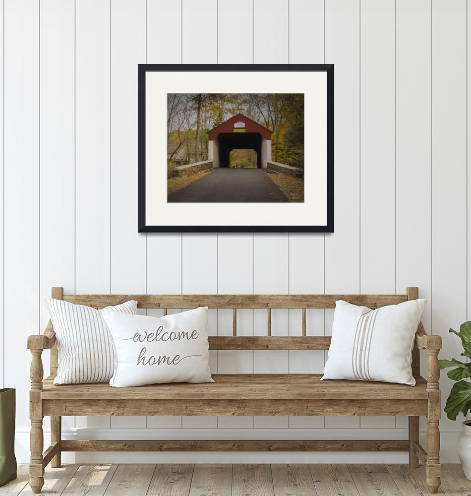 """""""Cabin Run Covered Bridge""""  (2017) by LouiseReeves"""