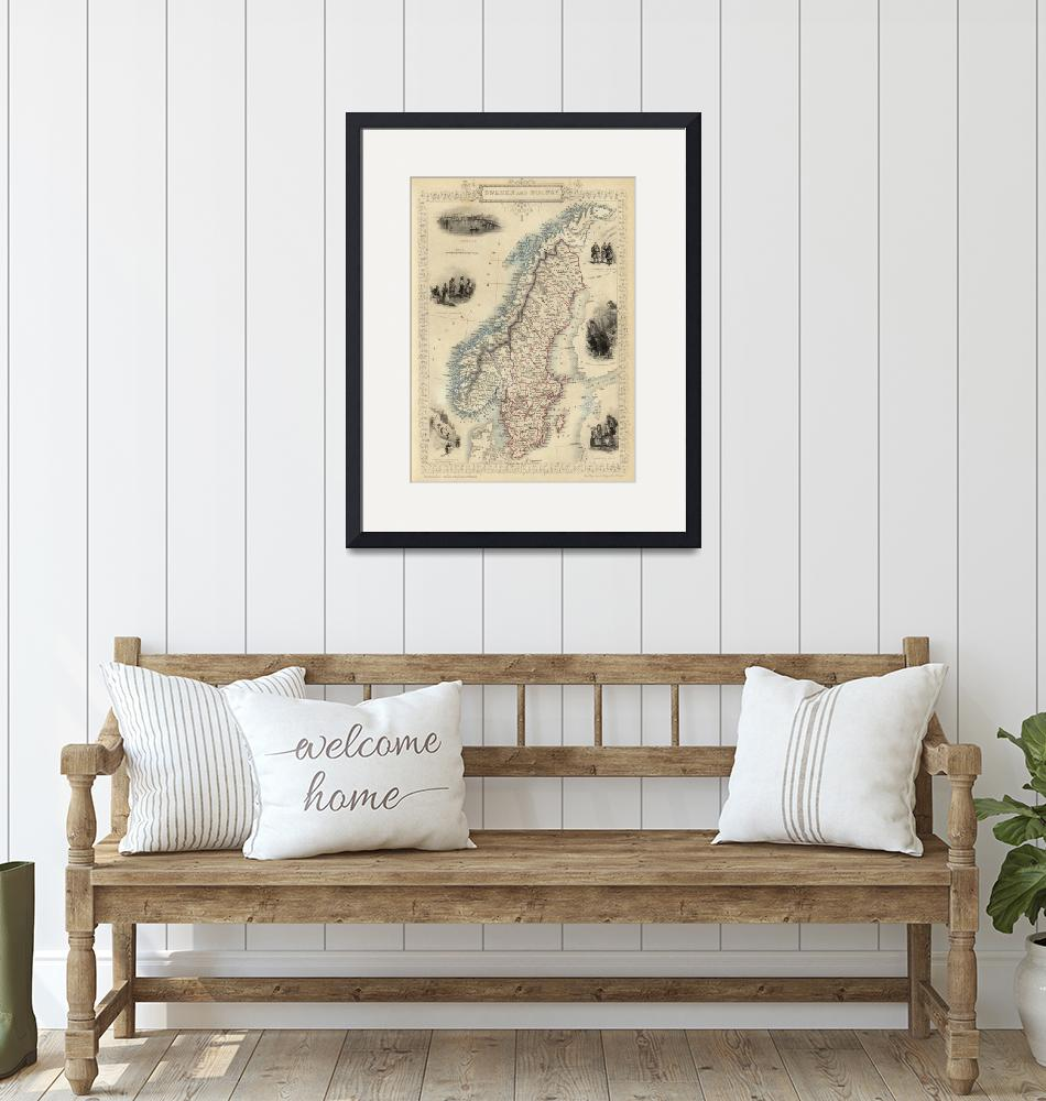 """""""Vintage Map of Norway and Sweden (1851)""""  by Alleycatshirts"""