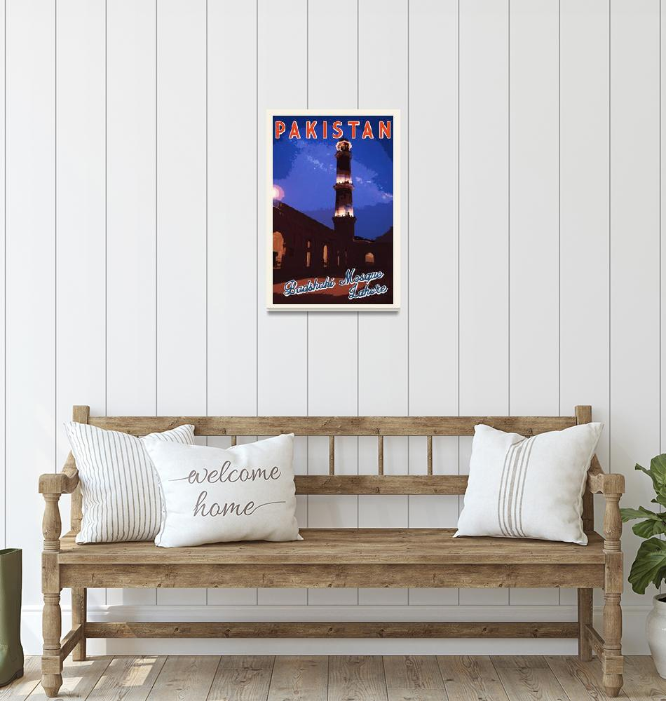 """Badshahi Mosque, Lahore, Pakistan Travel Poster""  by motionage"