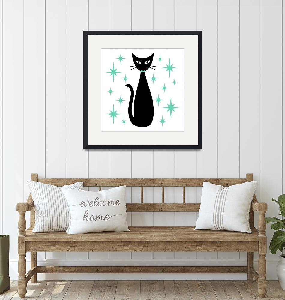 """Mid Century Cat with Aqua Green Starbursts""  (2019) by DMibus"