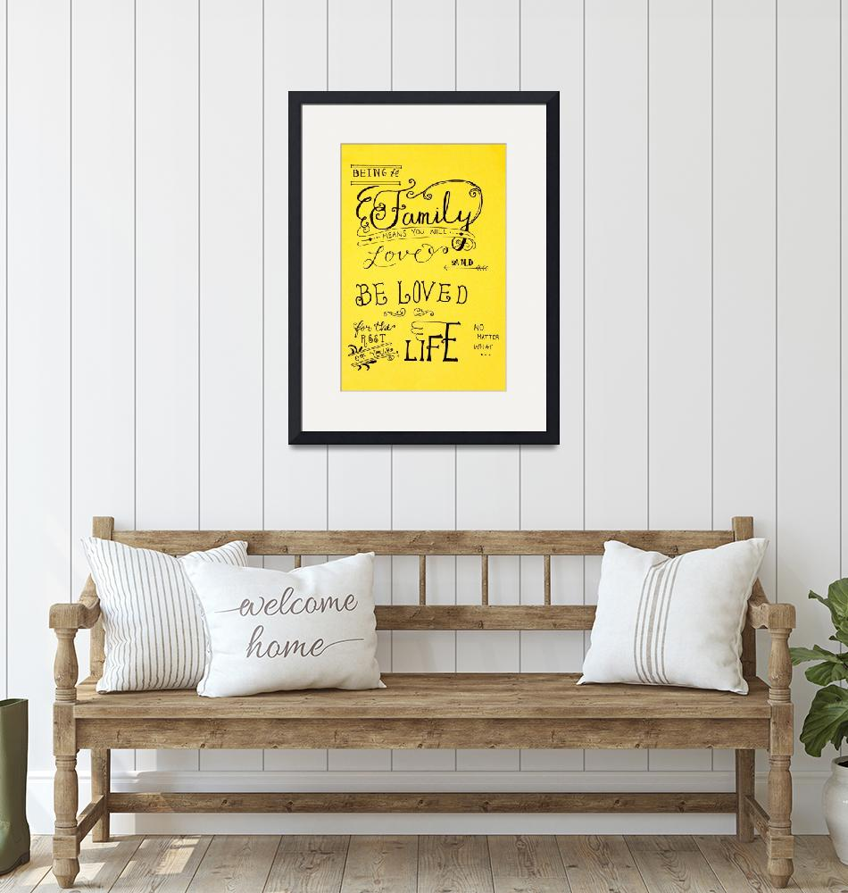 """""""Family Quote Wording Calligraphy""""  (2019) by visfineart"""