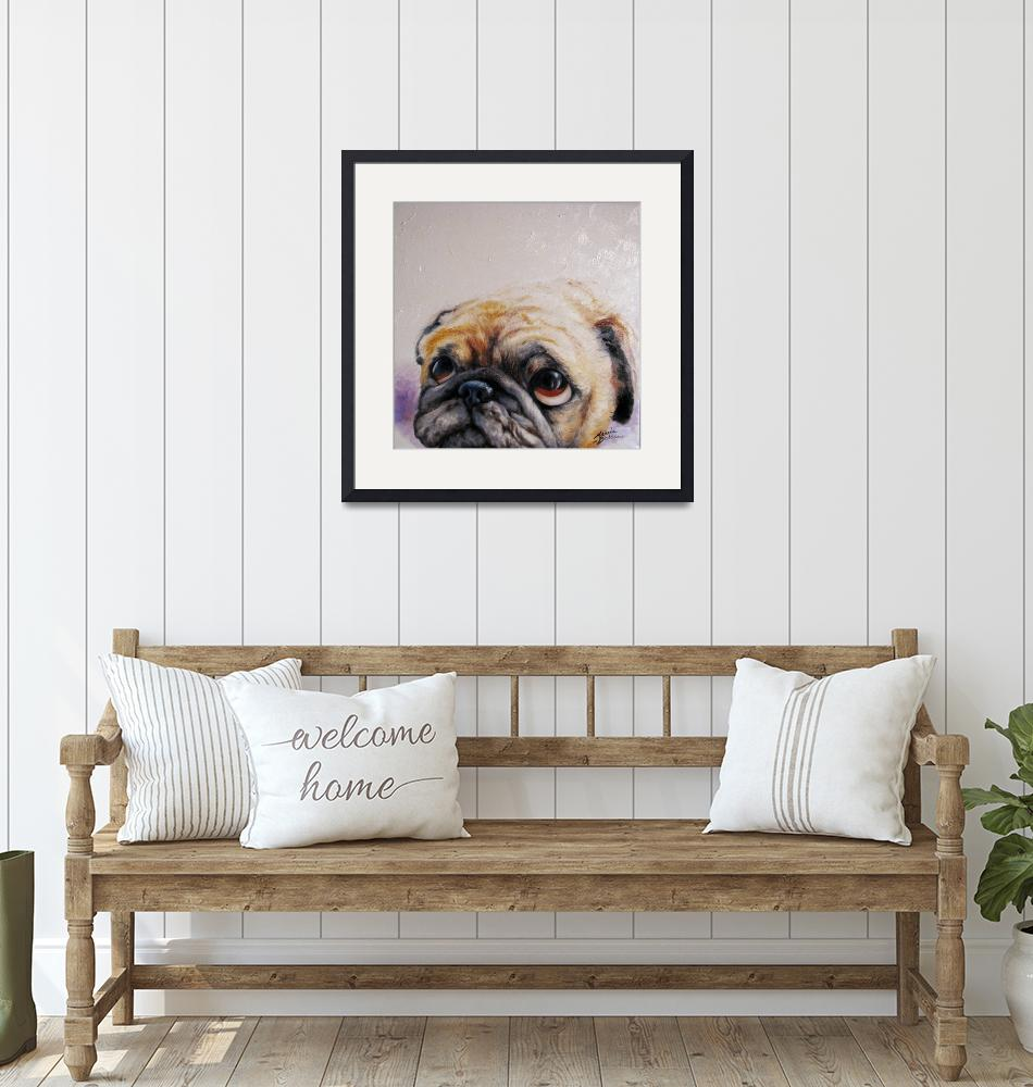 """PUG LOVE M BALDWIN ORIGINAL ART"" (2008) by MBaldwinFineArt2006"