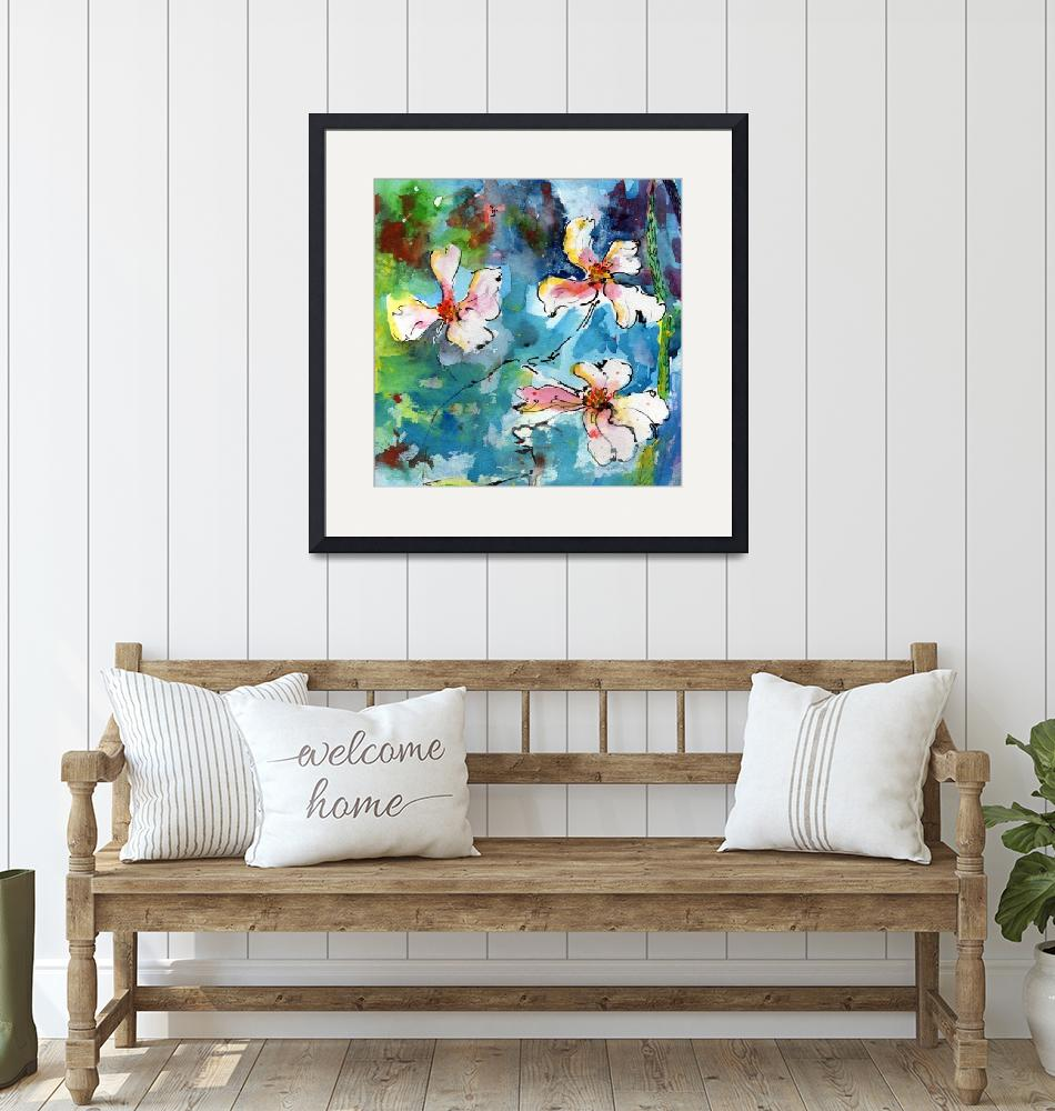"""""""Dogwood Blossoms Watercolor""""  (2015) by GinetteCallaway"""