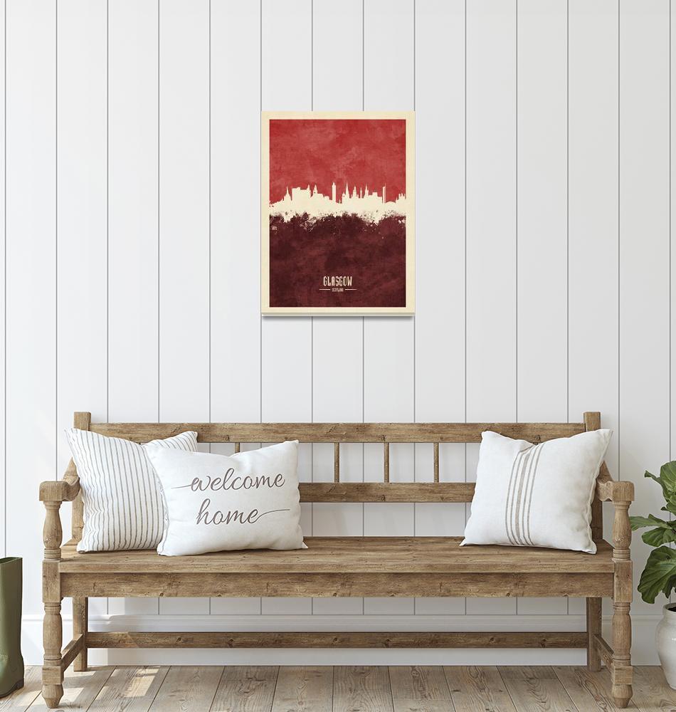 """Glasgow Scotland Skyline""  (2018) by ModernArtPrints"