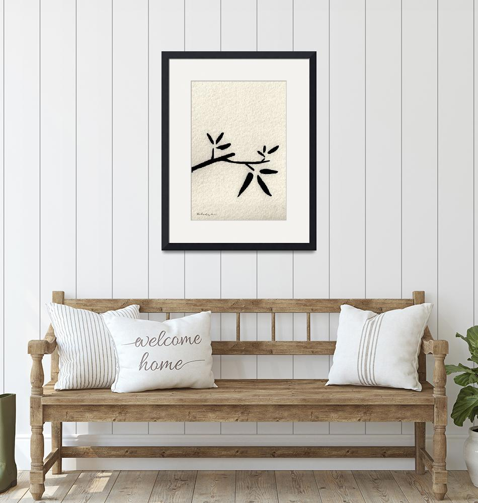 """Zen Sumi Antique Branch 2a Black Ink on Watercolor""  (2011) by Ricardos"