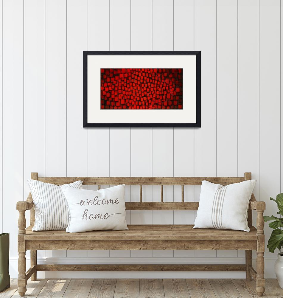 """""""Fire Within - Red Abstract art"""" (2009) by modernhouseart"""