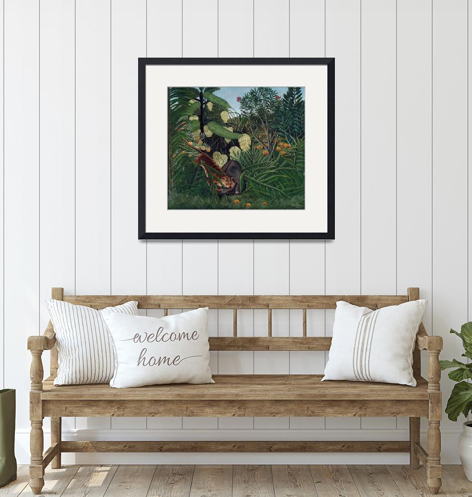 """""""Fight between a Tiger and a Buffalo by Rousseau""""  by FineArtClassics"""