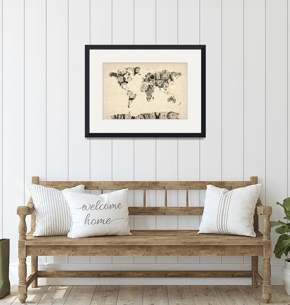 """""""Map of the World Map from Old Clocks"""" (2012) by ModernArtPrints"""