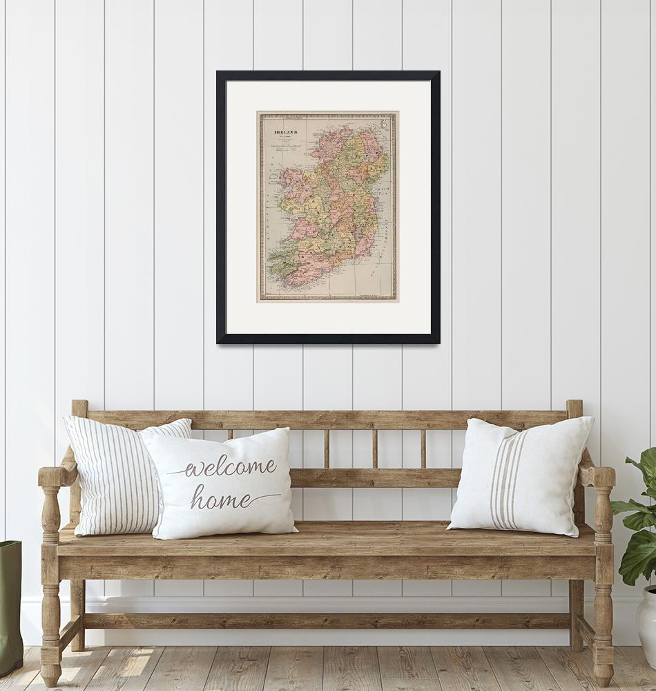 """""""Vintage Map of Ireland (1883)""""  by Alleycatshirts"""