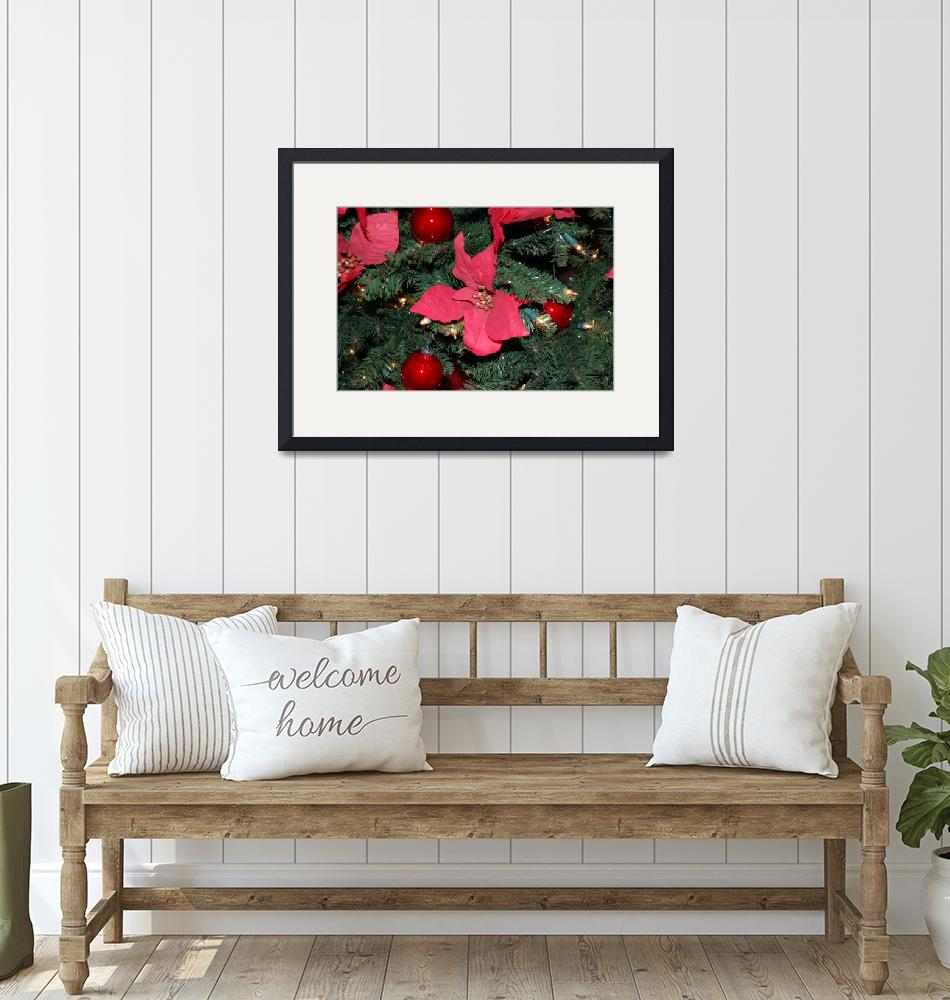 """""""Christmas Tree Red Poinsettia""""  (2009) by crazyabouthercats"""