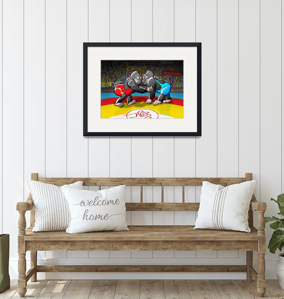 """""""Olympic Wrestling Gorillas""""  (2012) by Zooco"""