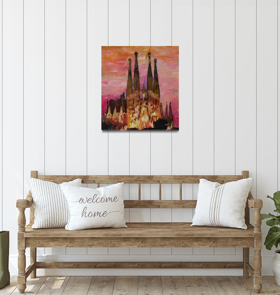"""Barcelona With Sagrada Familia And Vanilla Sky""  (2013) by arthop77"