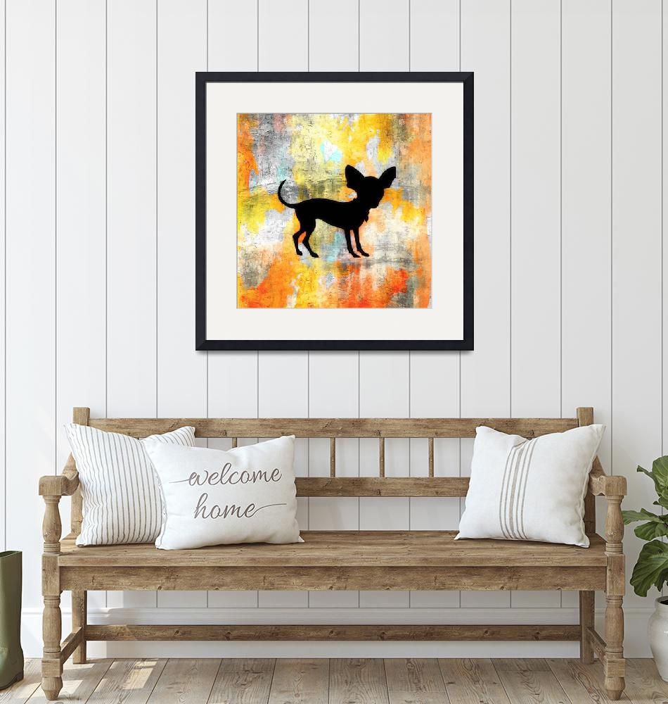 """Chihuahua Silhouette on Citrus Colorwash""  (2013) by SignaturePromos"