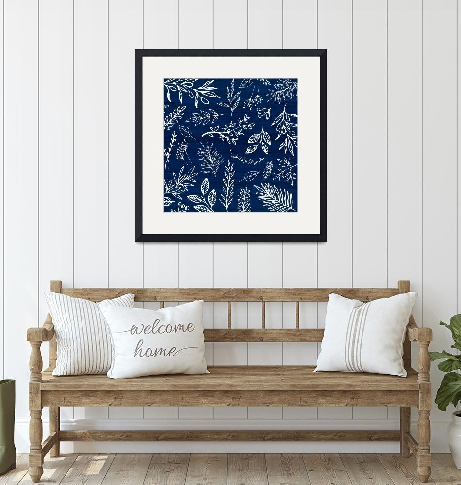 """""""In The Wind - White Leaf Sketch Pattern""""  (2018) by moderntropical"""