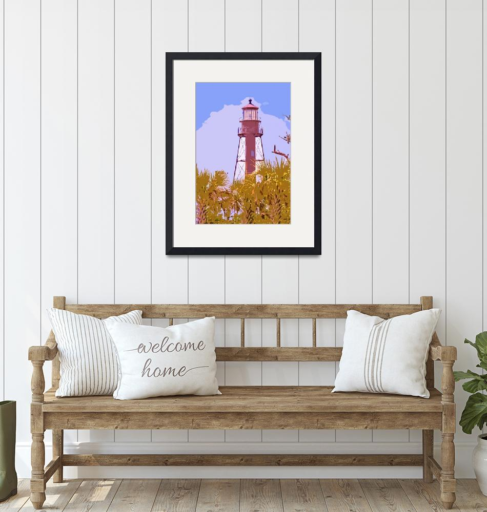 """Sanibel Lighthouse cutout""  (2011) by lwoodburn"
