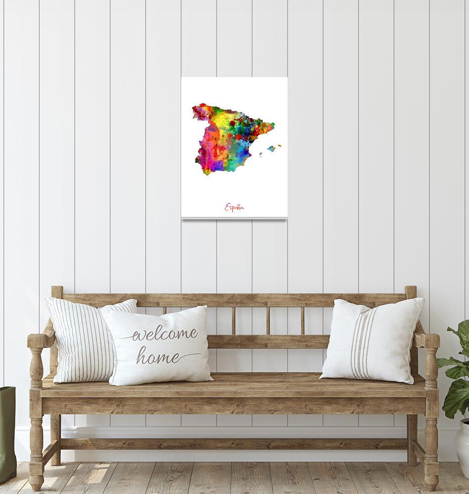 """Spain Watercolor Map""  (2014) by ModernArtPrints"