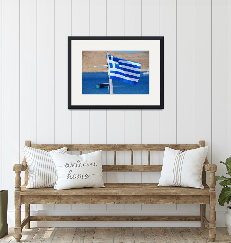 """Greek National flag, Halki""  (2016) by DavidFowler"