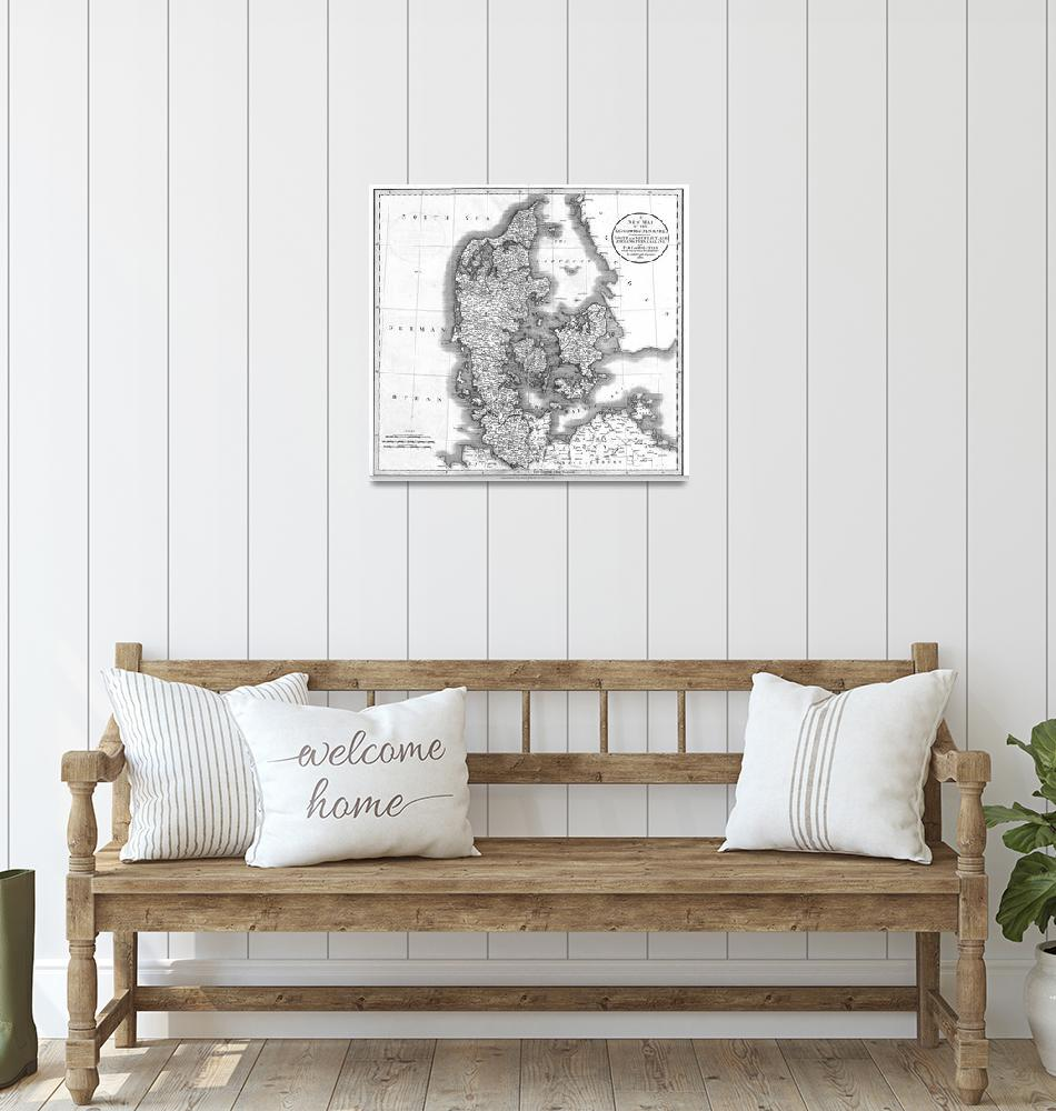 """Vintage Map of Denmark (1801) BW""  by Alleycatshirts"