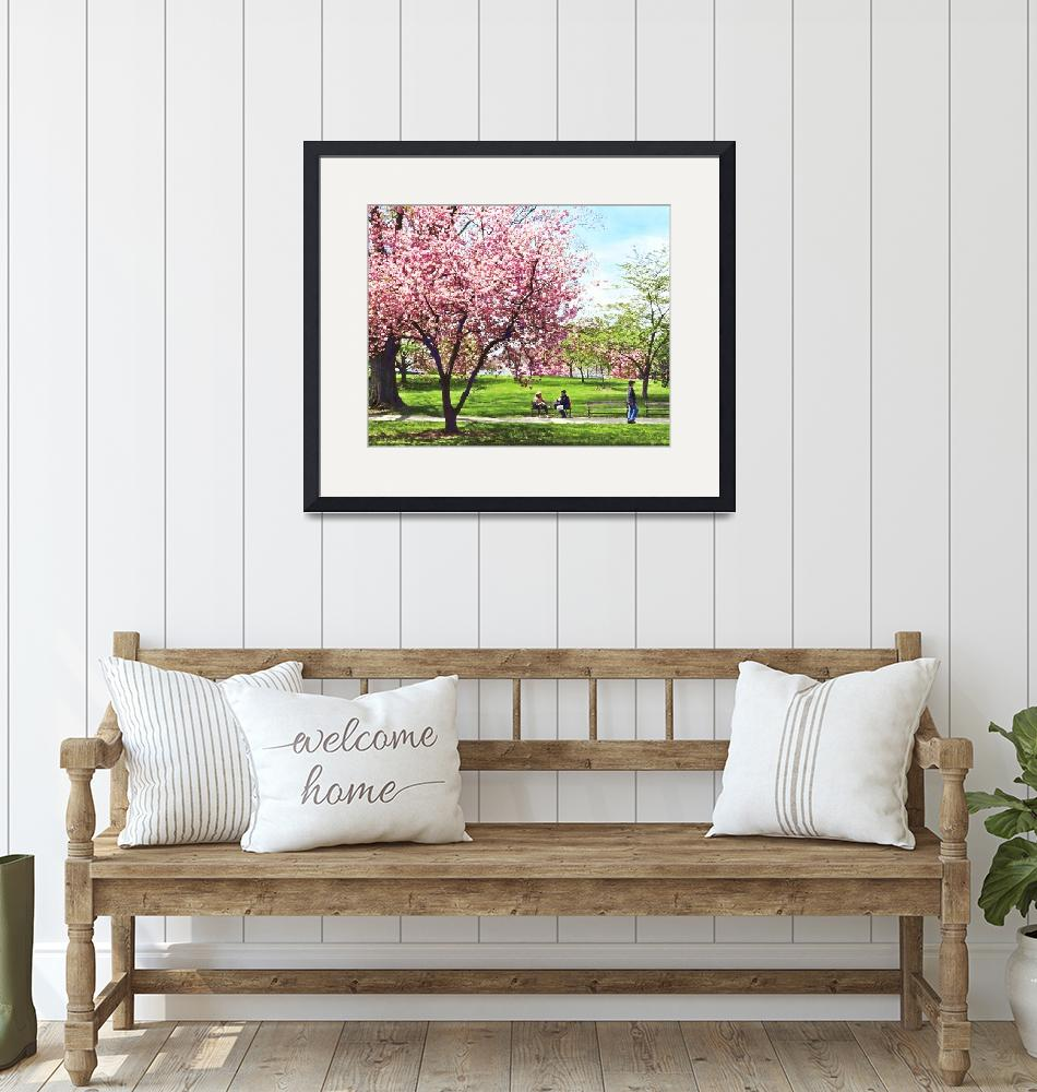 """Newark NJ - Lunch and Cherry Blossoms""  by susansartgallery"