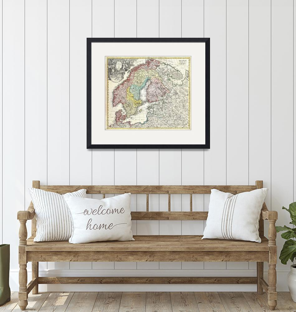 """""""Map of Scandinavia and the Baltics by Homann""""  by FineArtClassics"""