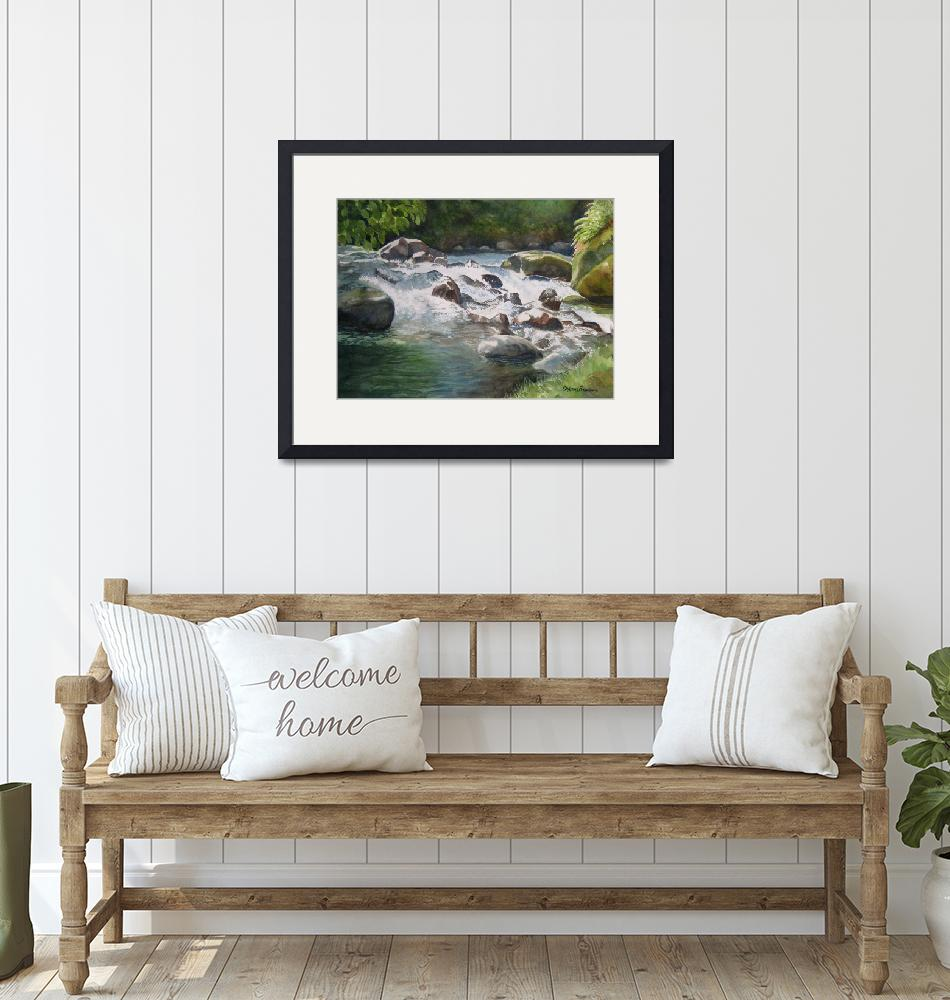 """""""Tropical River Falls and Rocks""""  (2009) by Pacific-NW-Watercolors"""