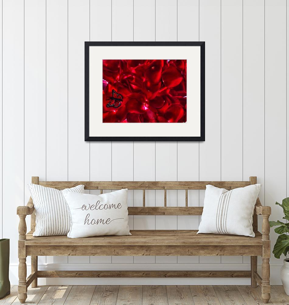 """""""Red rose petals and butterfly lighted""""  (2010) by annav"""