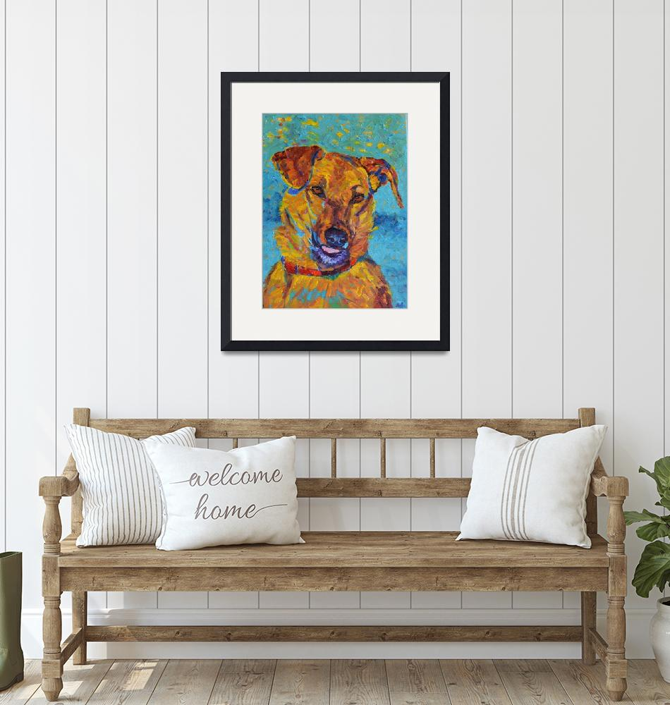 """""""Dog portrait Pet Painting Animal Impressionist""""  (2018) by Maggy"""