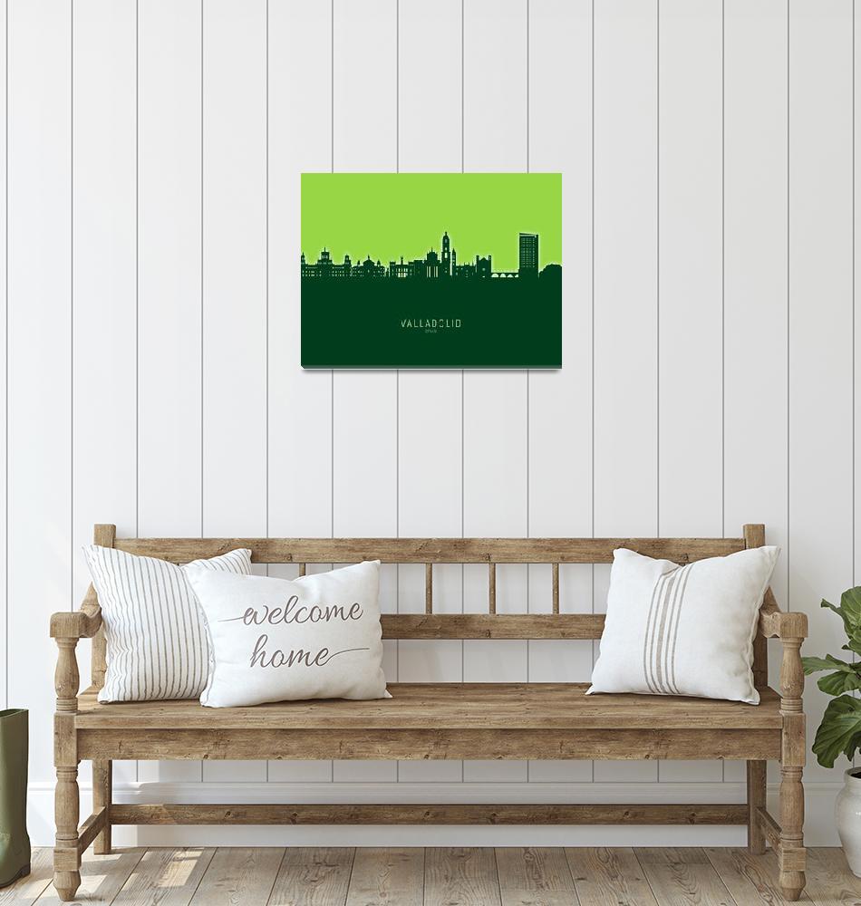 """Valladolid Spain Skyline""  (2021) by ModernArtPrints"