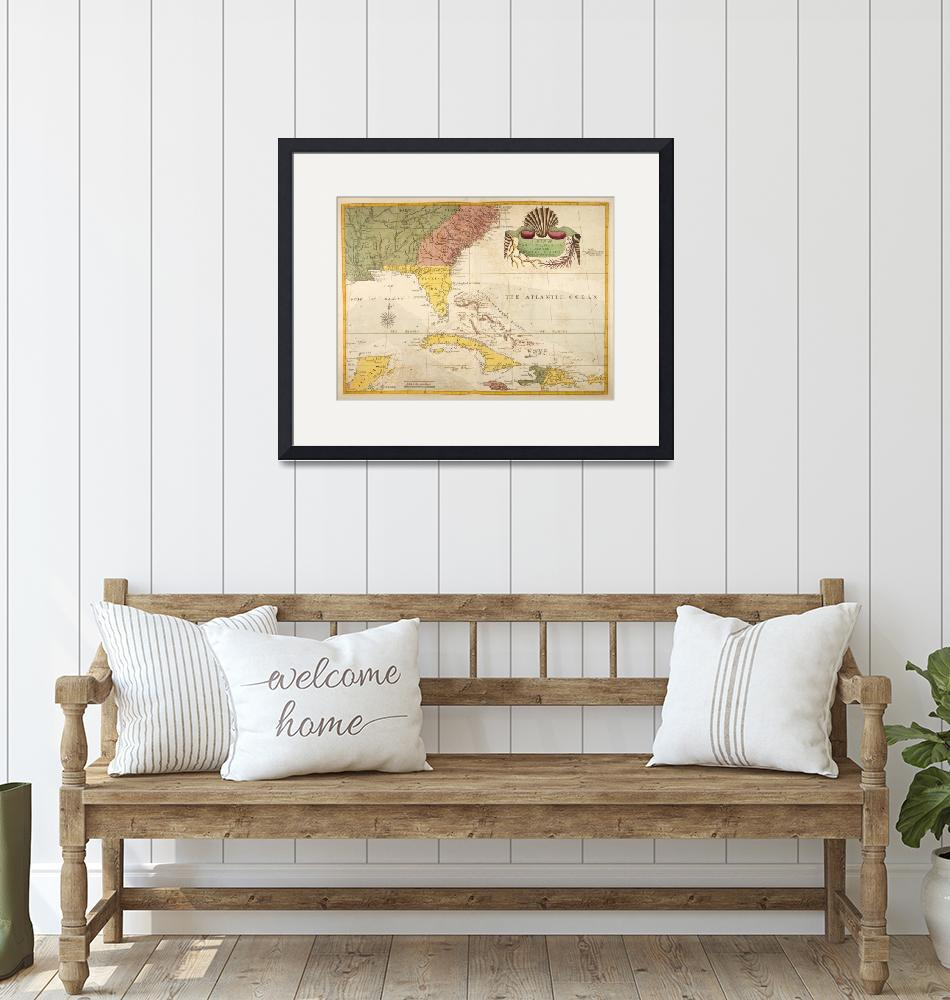 """""""Vintage Map of The Caribbean (1754)""""  by Alleycatshirts"""