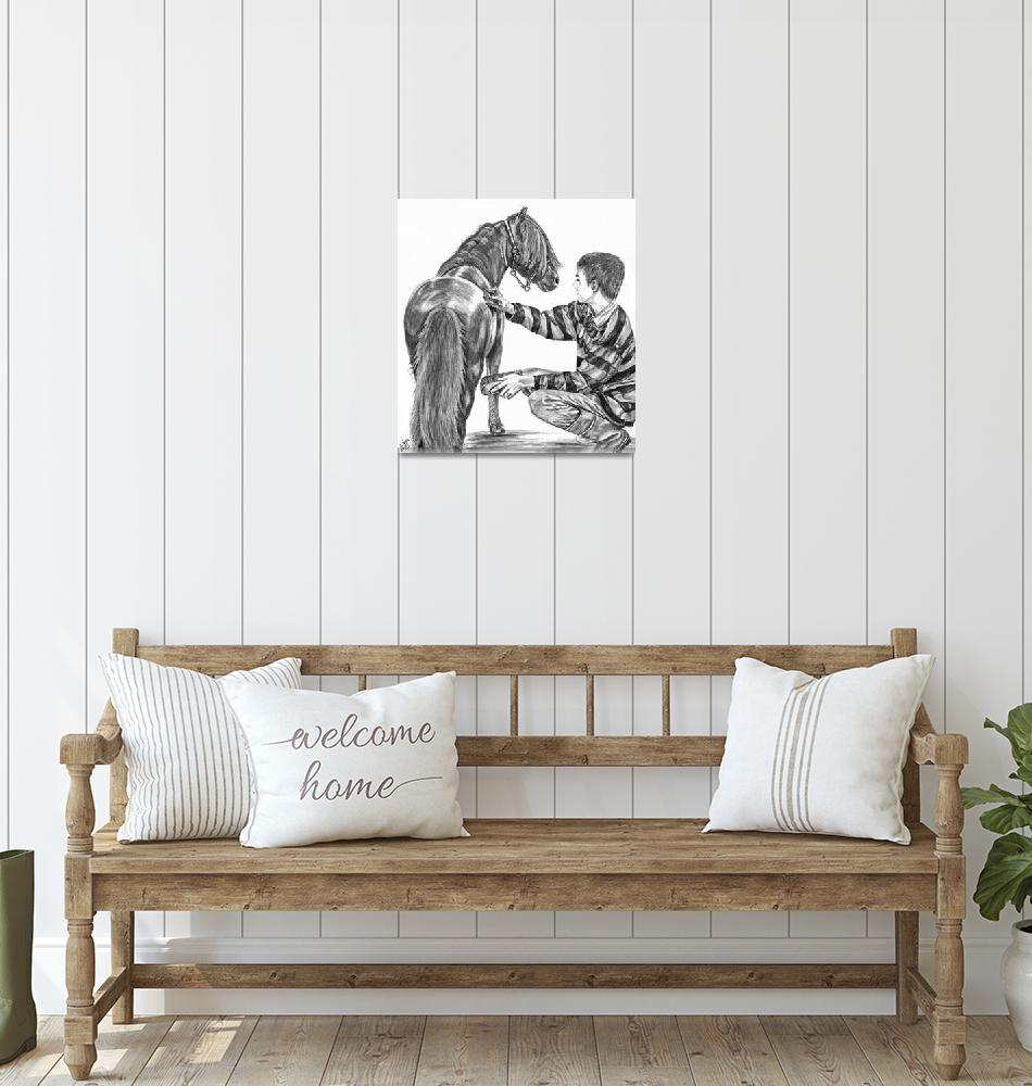 """Miniature horse and Boy""  (2007) by inkandbrushcreations"