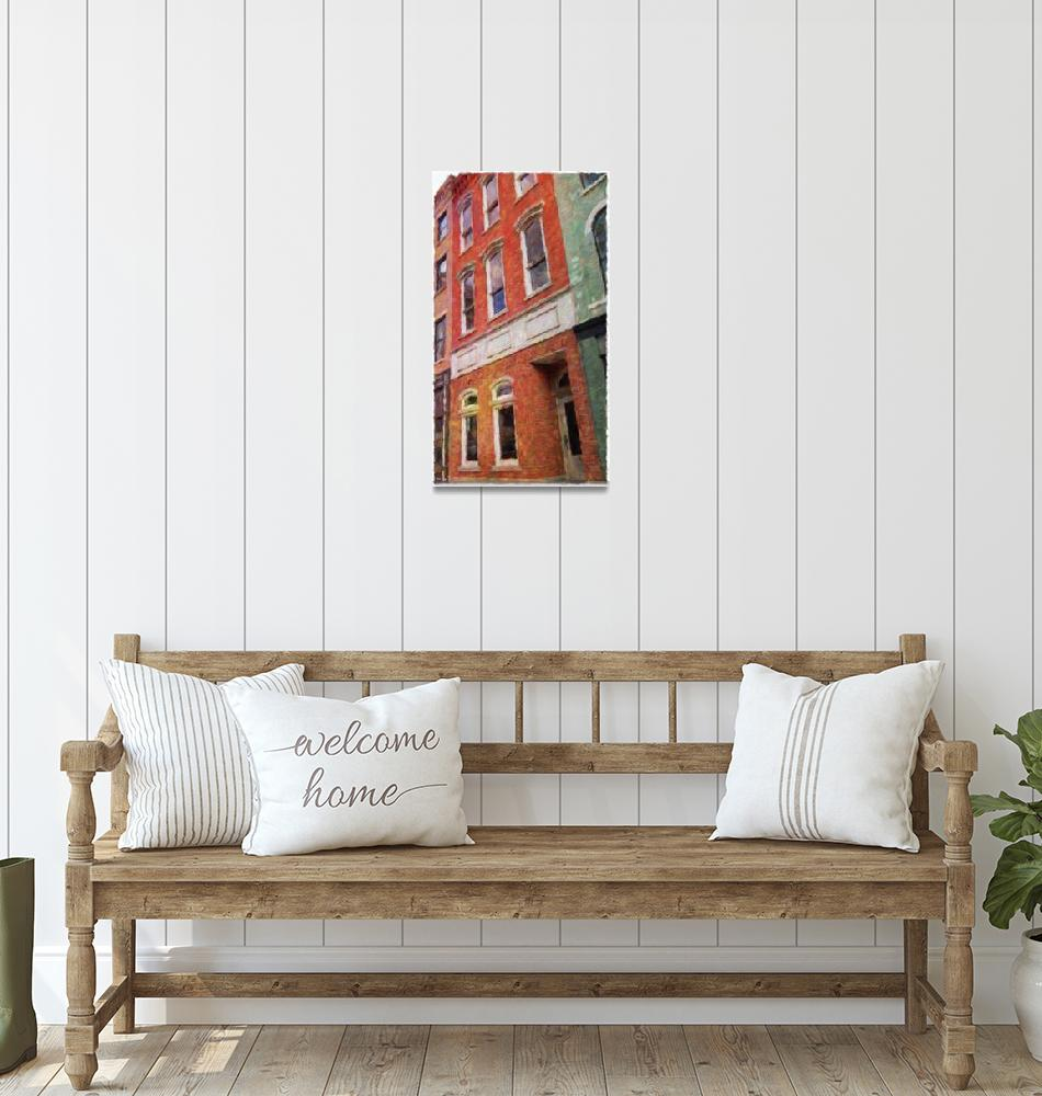 """""""Red Brick Buildihg with Green""""  (2015) by Artbeewe"""