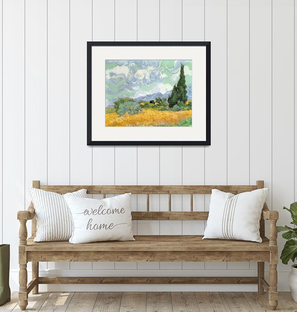 """""""Wheatfield with Cypresses by Vincent van Gogh""""  by fineartmasters"""