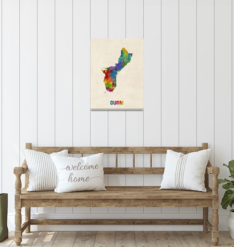"""""""Guam Watercolor Map""""  (2016) by ModernArtPrints"""