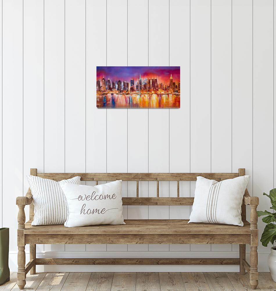 """Vibrant New York City Skyline""  (2012) by citywallart"
