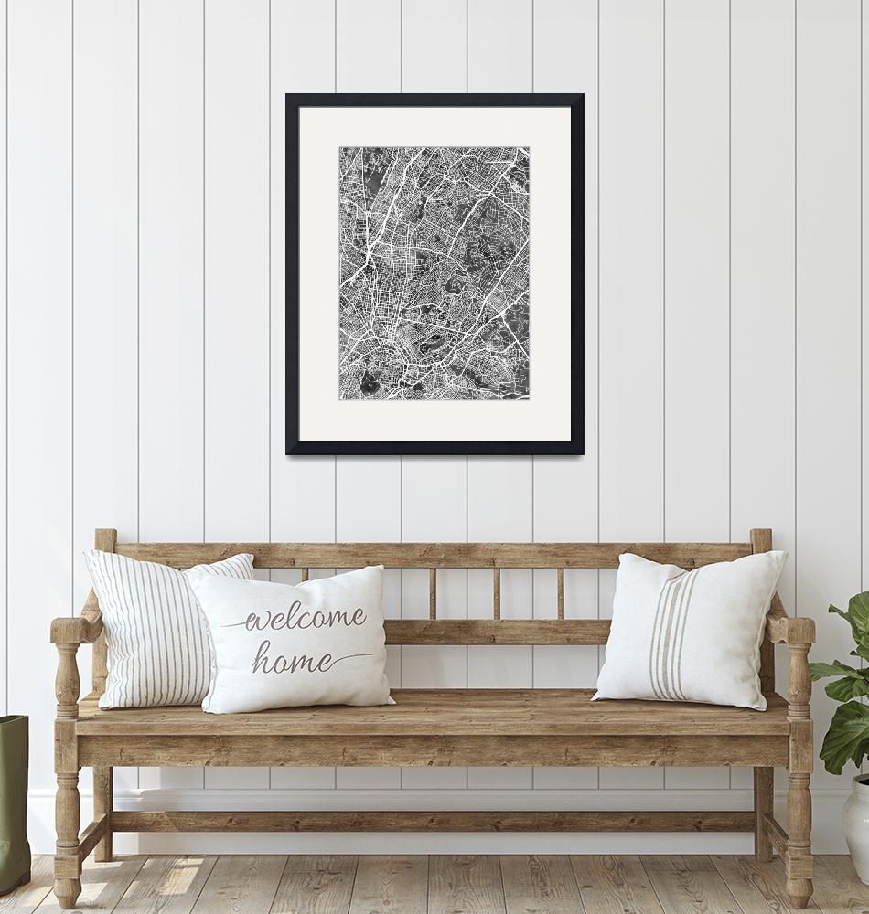 """Athens Greece City Map""  (2019) by ModernArtPrints"