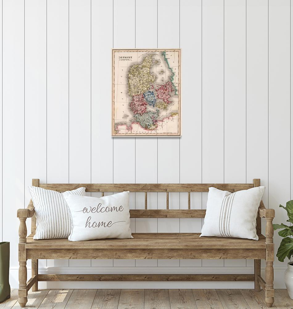 """Vintage Map of Denmark (1838)""  by Alleycatshirts"