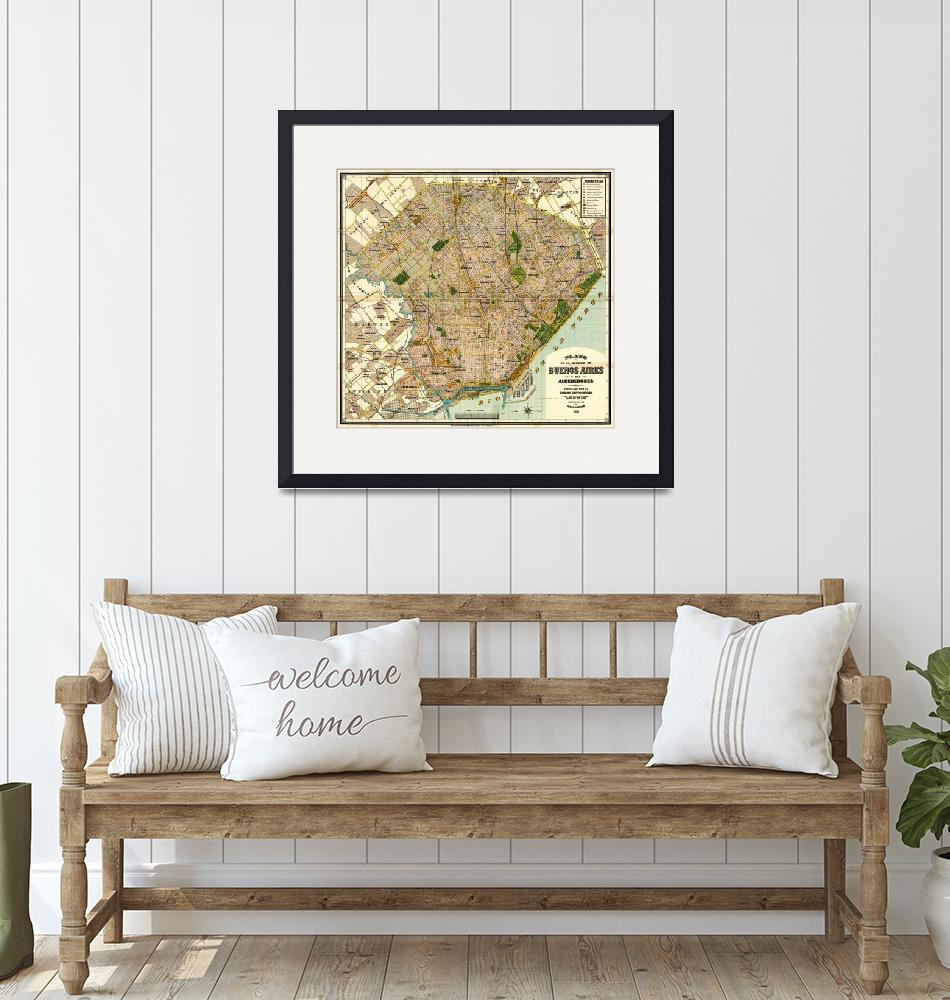 """""""Vintage Map of Buenos Aires Argentina (1921)""""  by Alleycatshirts"""
