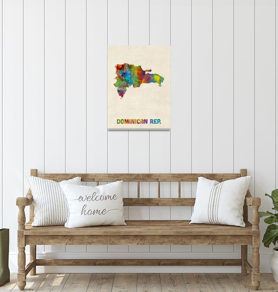"""Dominican Republic Watercolor Map""  (2015) by ModernArtPrints"