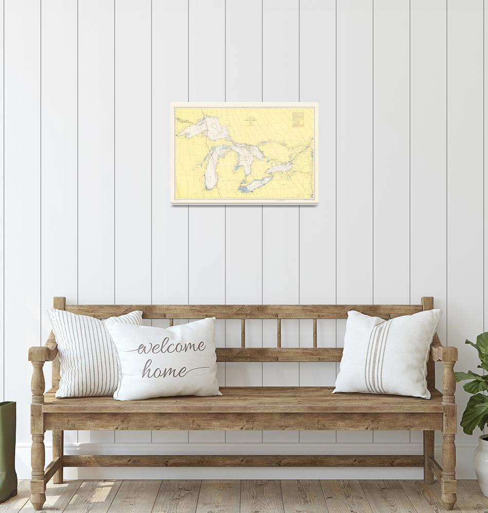 """Vintage Map of The Great Lakes (1966)""  by Alleycatshirts"