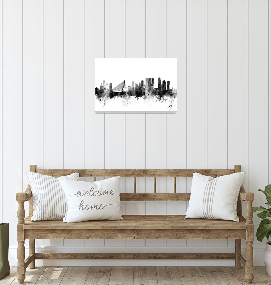 """Rotterdam The Netherlands Skyline""  (2015) by ModernArtPrints"