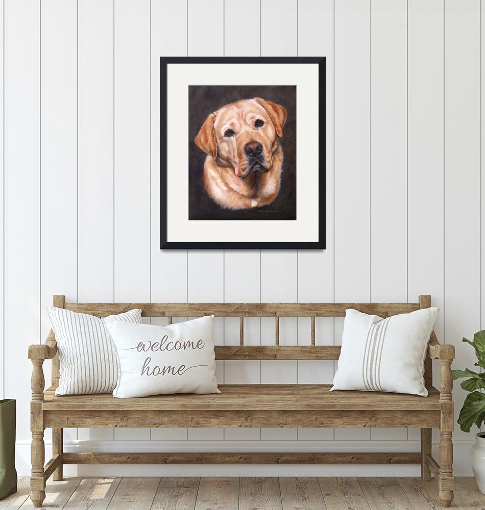 """Yellow Labrador Dog Portrait Painting""  (2012) by DogsandFlowers"
