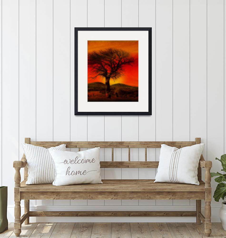 """""""Oil Pastel Tree in Sunset"""" (2008) by Attentiongetters"""