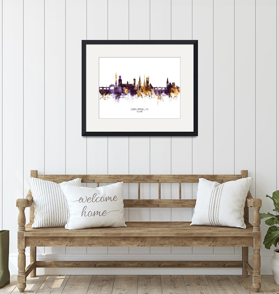 """Shrewsbury England Skyline""  (2019) by ModernArtPrints"