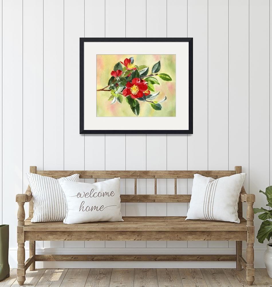 """""""red camellia flowers on a branch"""" (2019) by Pacific-NW-Watercolors"""
