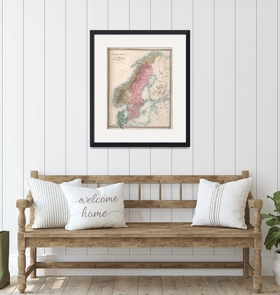 """Vintage Map of Norway and Sweden (1865)""  by Alleycatshirts"