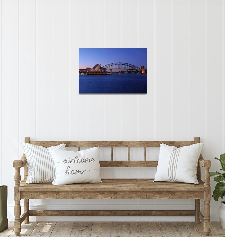 """Sydney Opera House and Harbour Bridge Australia""  (2009) by davidiori"